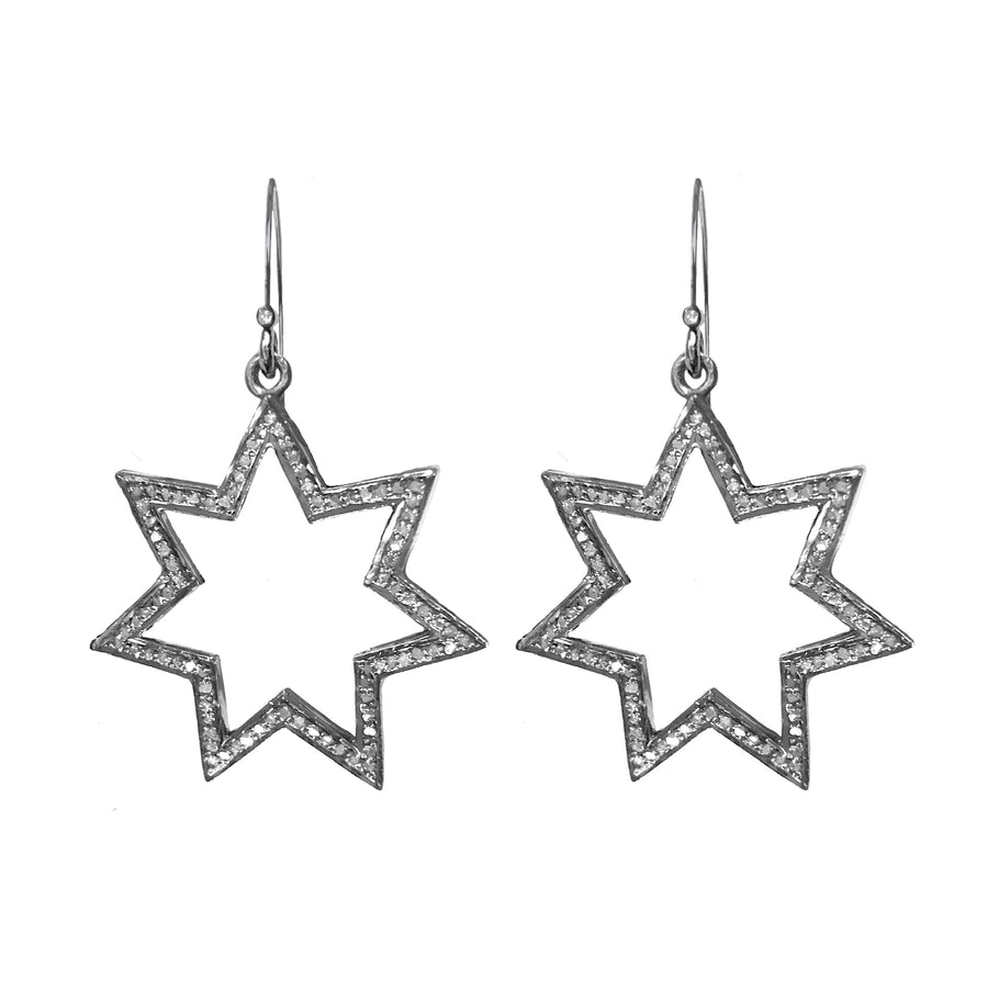 Pave diamond seven point star earrings on sterling silver