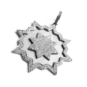 Pave diamond 8 point bursting star pendant in sterling silver