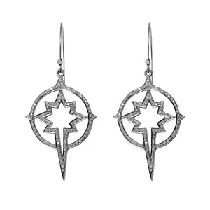 Pave diamond star compass earrings in sterling silver