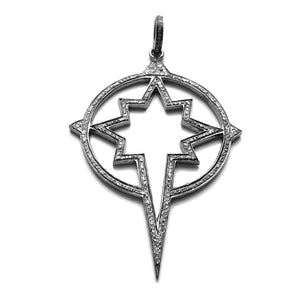 Pave diamond star compass pendant in sterling silver
