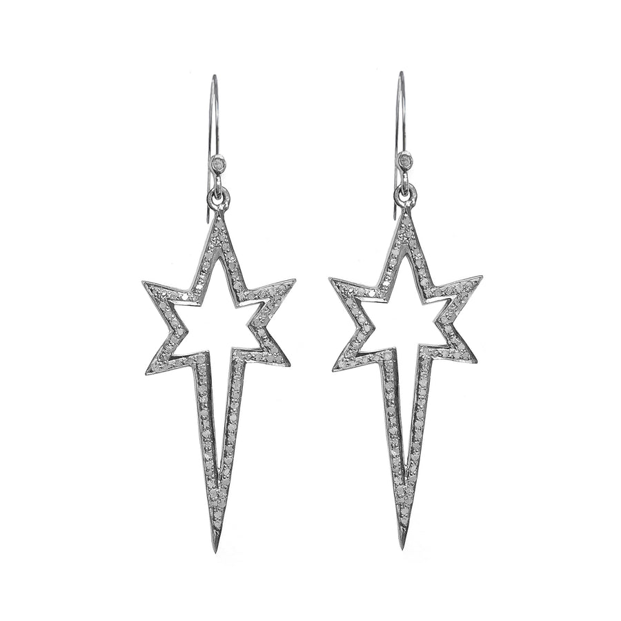 Pave diamond shooting star shaped earrings in sterling silver