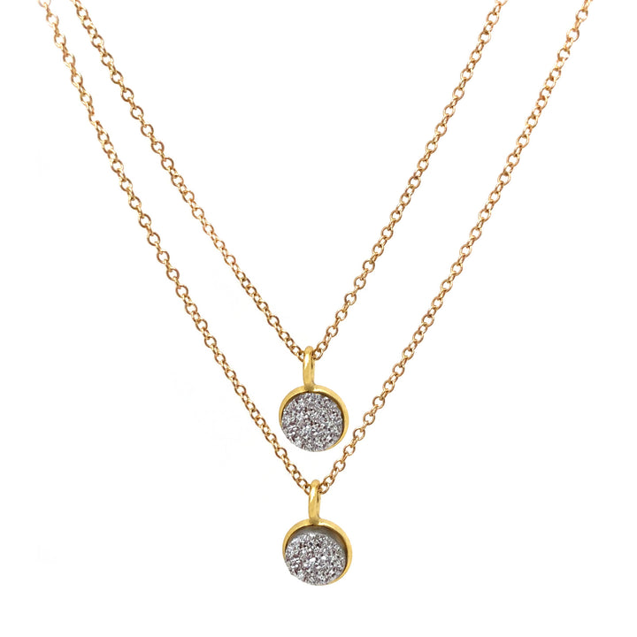 Double silver druzy in gold vermeil pendants on gold fill chain.