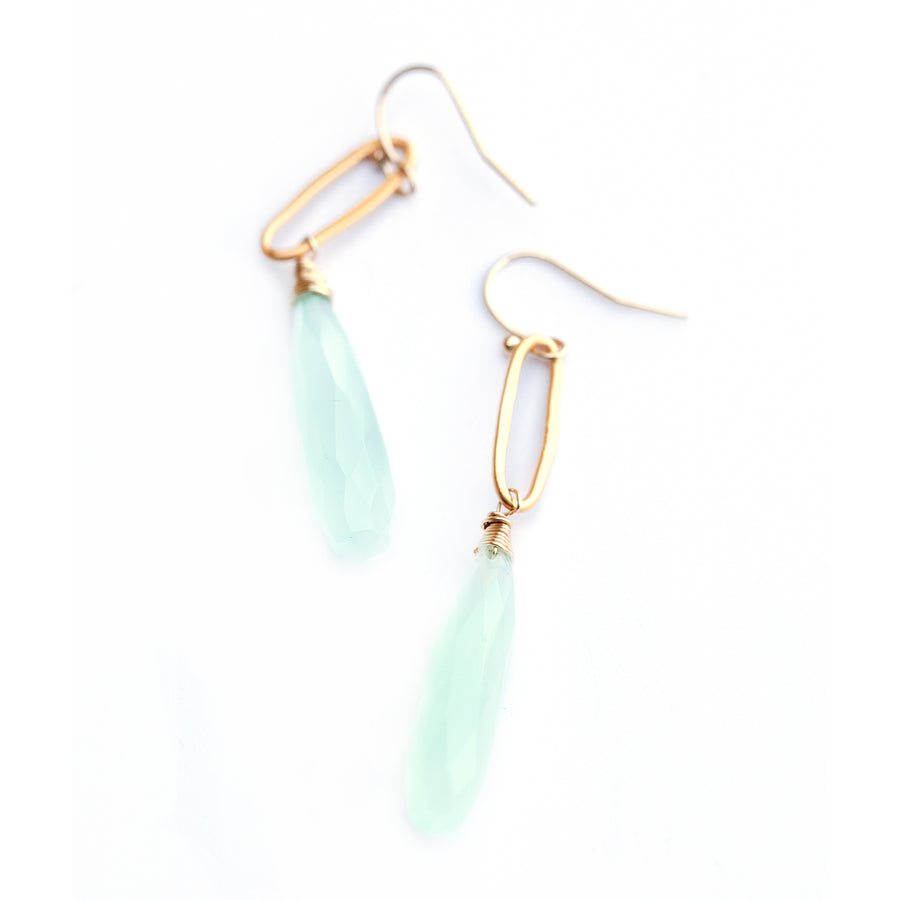 Dangling gold vermeil earrings with faceted chalcedony drops