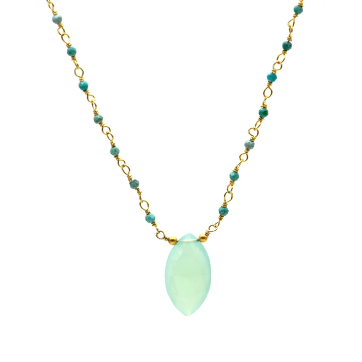 Chalcedony drop necklace from on gold fill turquoise bead chain