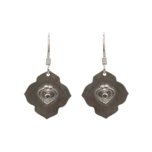 sterling silver lotus earrings w/ heart on sterling silver earwires