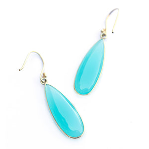 Long teardrop chalcedony earrings in gold vermeil