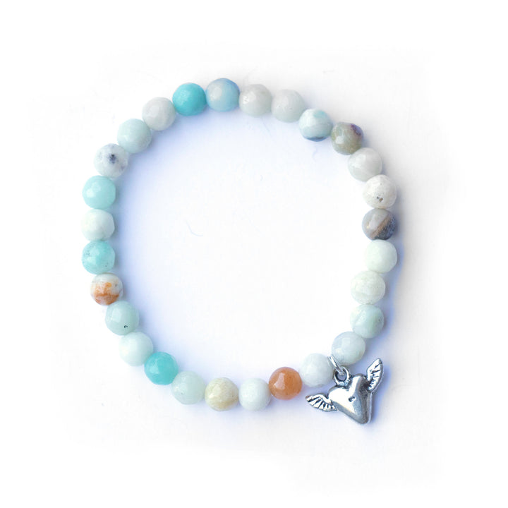 Amazonite bead stretch bracelet w/ sterling silver heart charm.