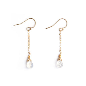 Faceted rainbow moonstones on gold fill chain dangling earrings.