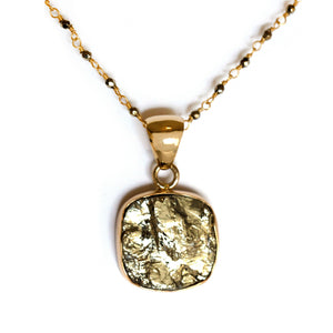 Pyrite and gold alchemia pendant on hematite wire wrapped chain