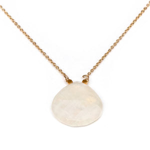 Large faceted moonstone drop pendant on gold fill chain