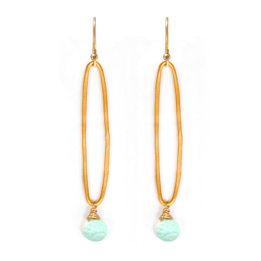 Long gold vermeil organic oval earrings with blue chalcedony drops