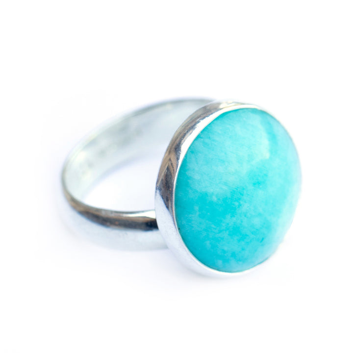 Adjustable round amazonite stone ring in sterling silver