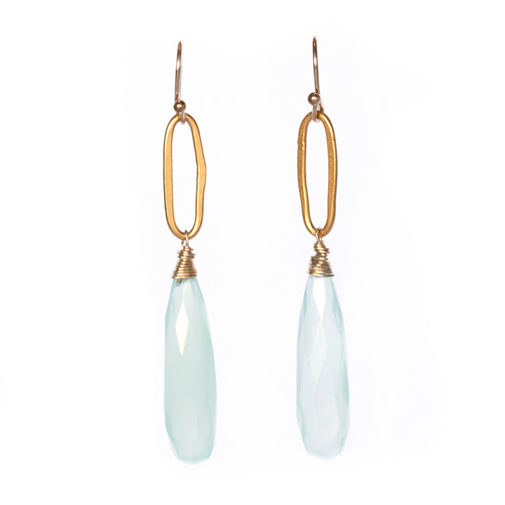 Dangling gold vermeil rings with faceted chalcedony drop earrings