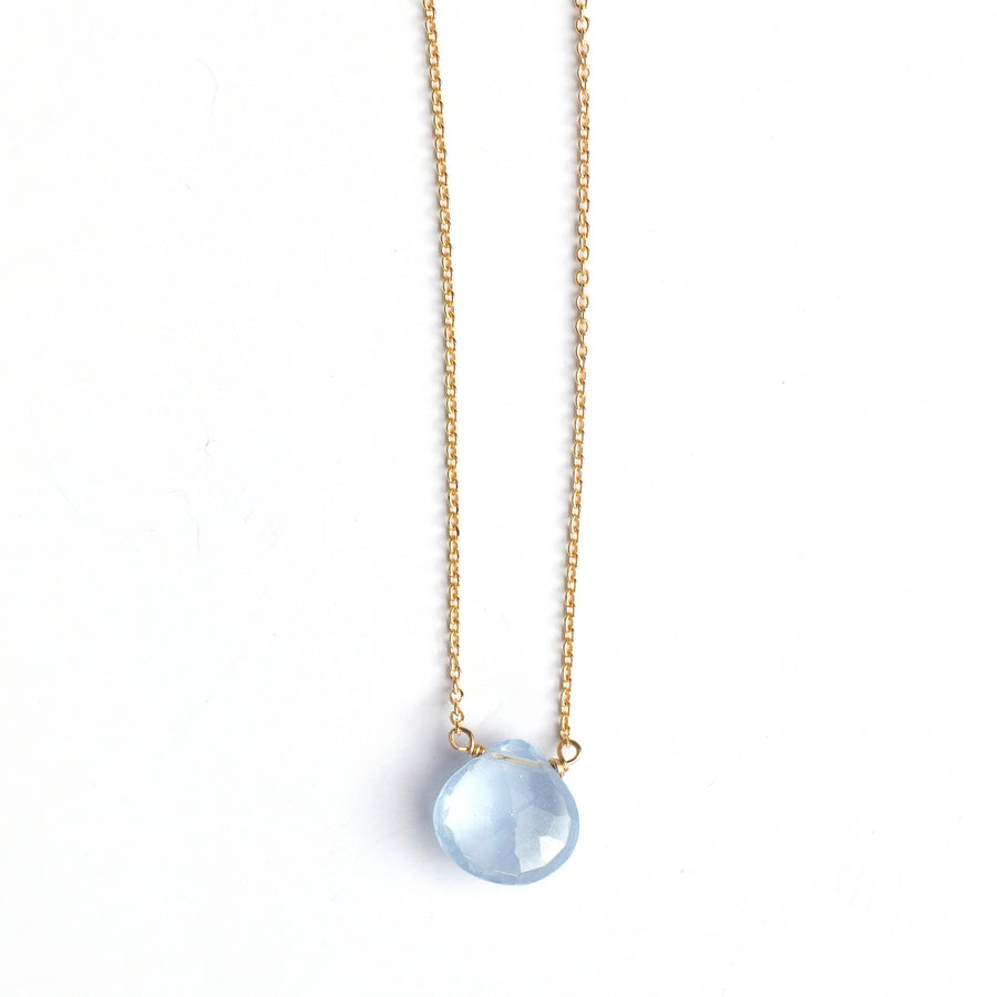 Pale blue faceted chalcedony drop pendant on gold fill chain.