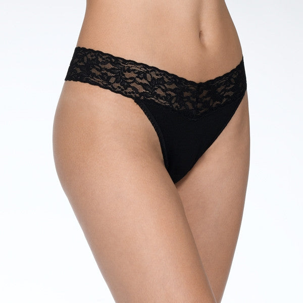 Hanky Panky Organic Cotton Original Rise Thong with Lace - Black