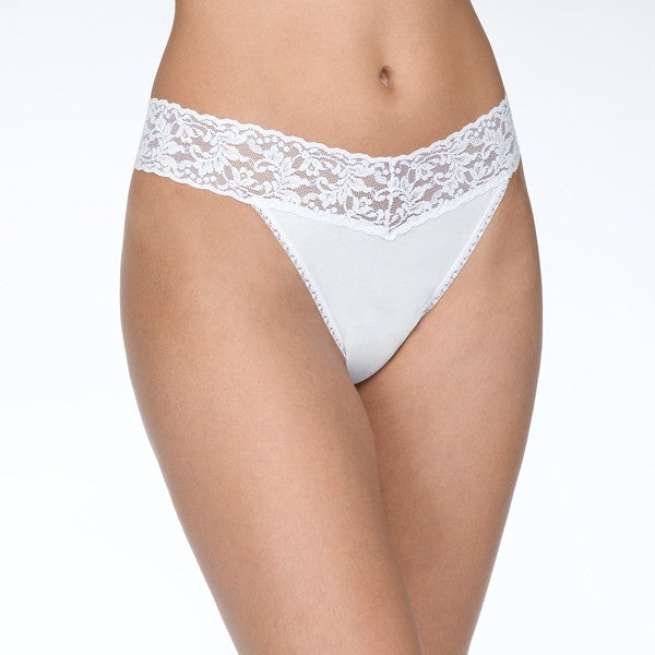 Hanky Panky Organic Cotton Original Rise Thong with Lace - White