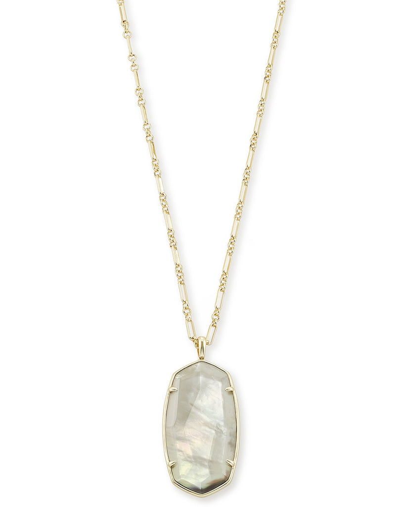 Faceted Reid Gold Long Pendant Necklace In Gray Illusion