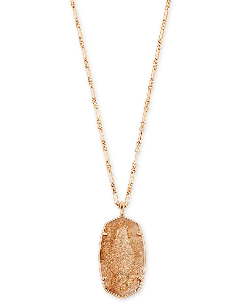 Faceted Reid Rose Gold Long Pendant Necklace In Pink Illusion
