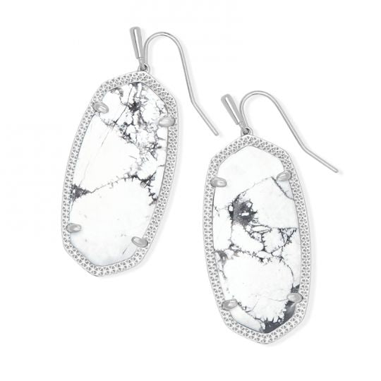 Faceted Danielle Gold Statement Earrings In  White Howlite