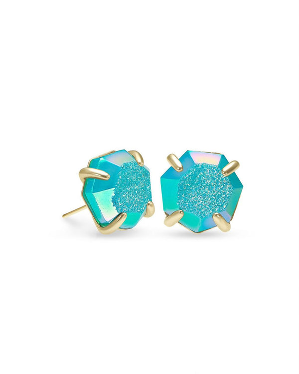 Ryan Stud Earring In Bright Aqua Drusy