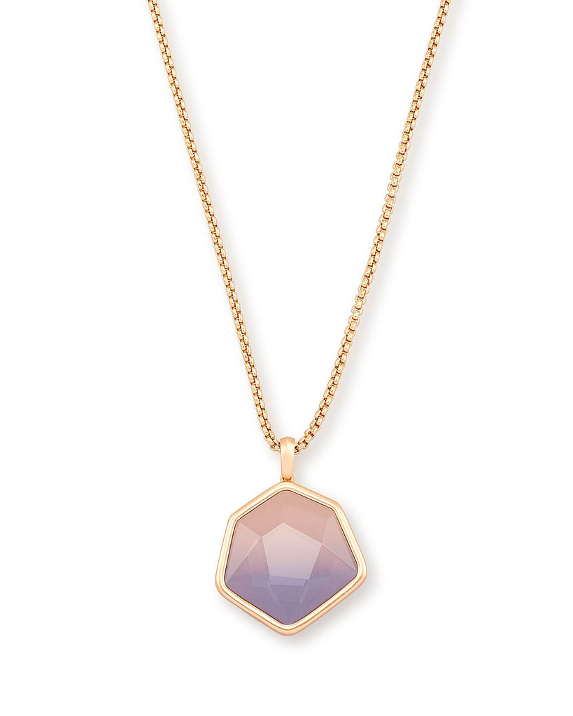 Vanessa Rose Gold Long Pendant Necklace In Peach Ombre