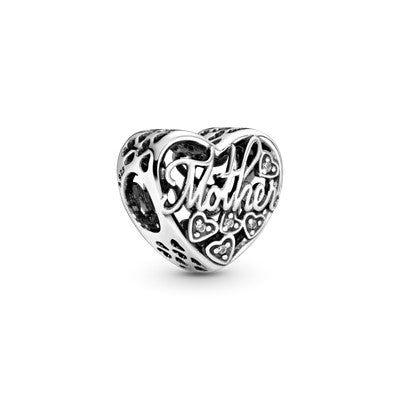 Mother and Son Script Openwork Charm