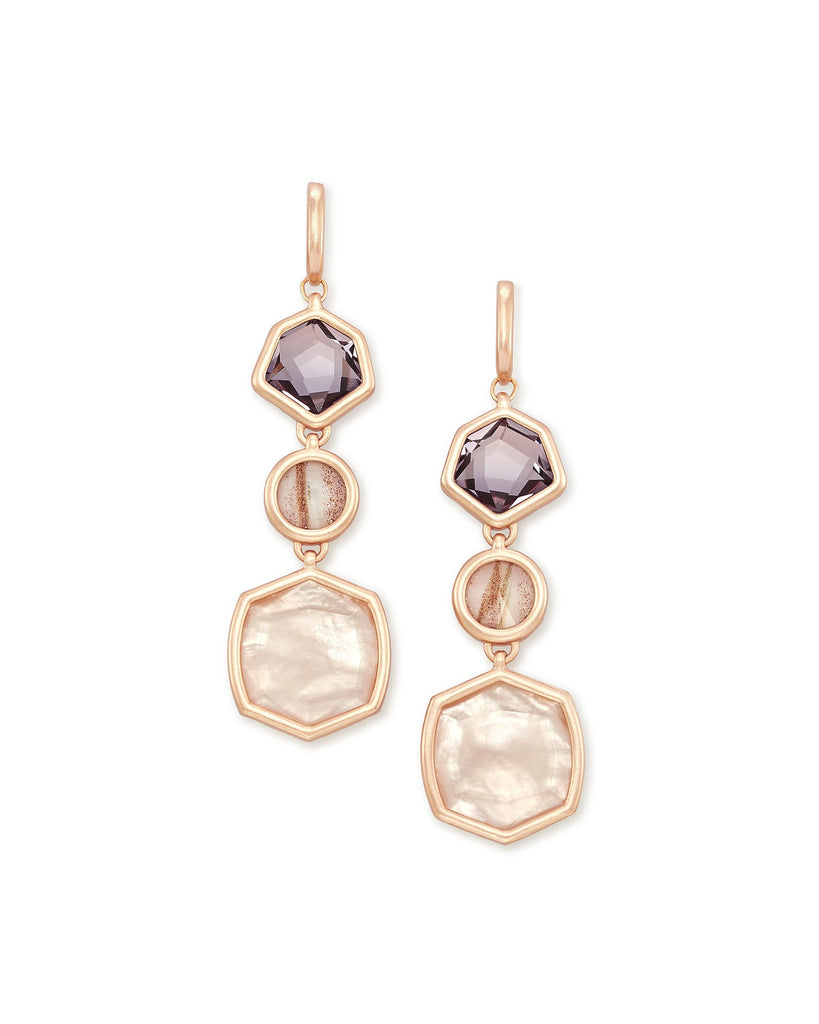 Natalia Rose Gold Statement Earrings In Peach Mix