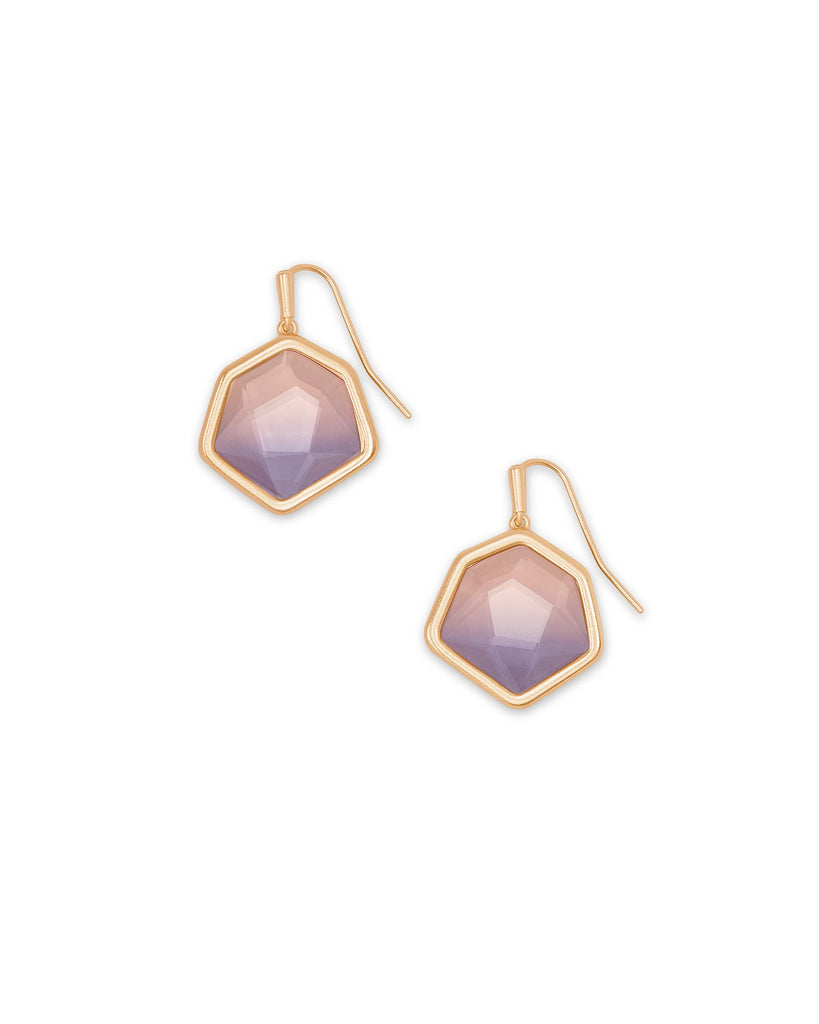Vanessa Rose Gold Small Drop Earrings In Peach Ombre