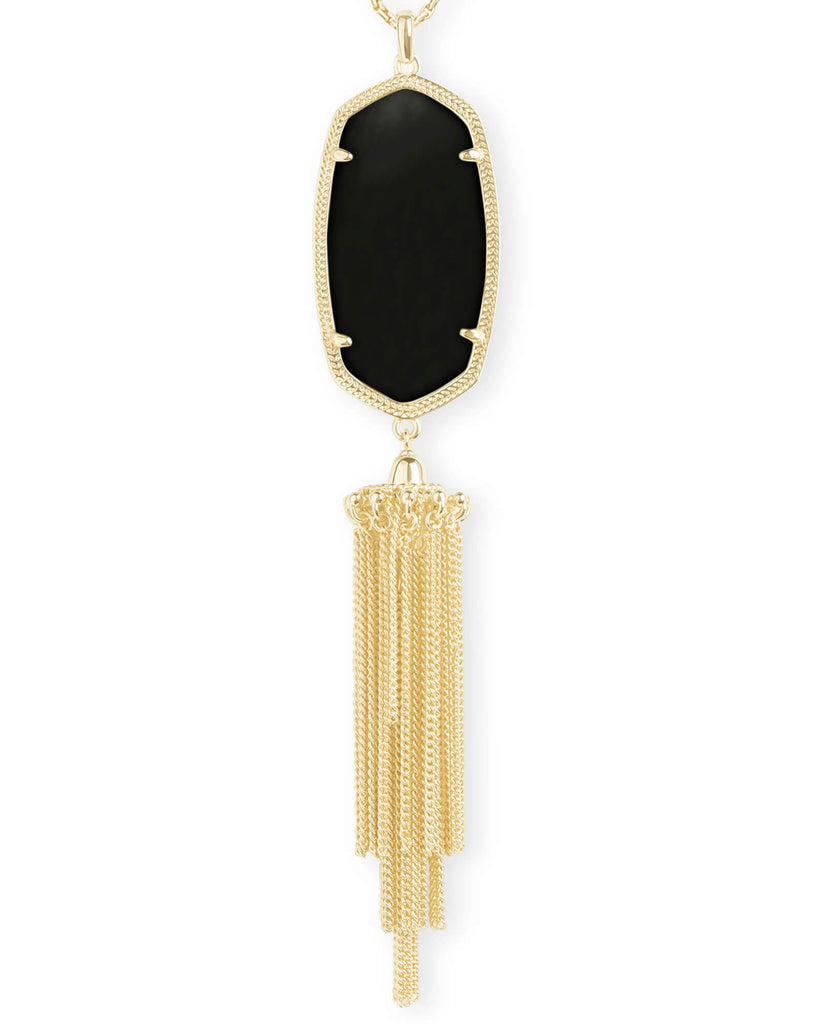 Rayne Gold Necklace In Black Opaque Glass