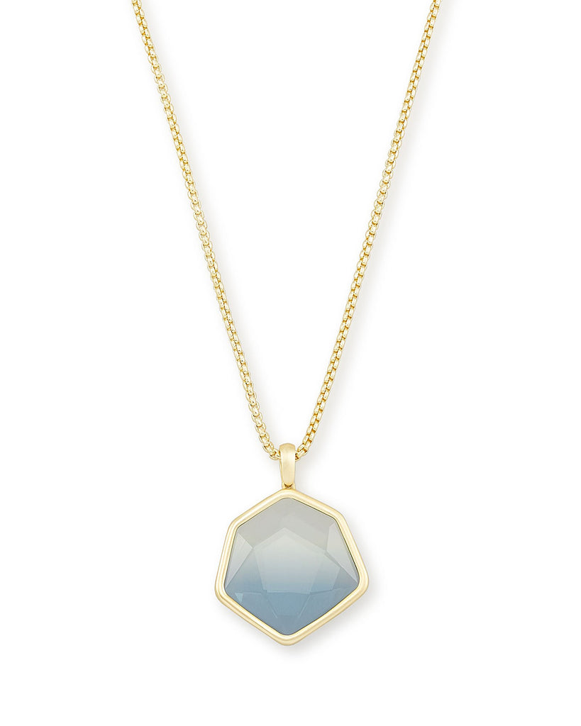 Vanessa Gold Long Pendant Necklace In Steel Gray Ombre