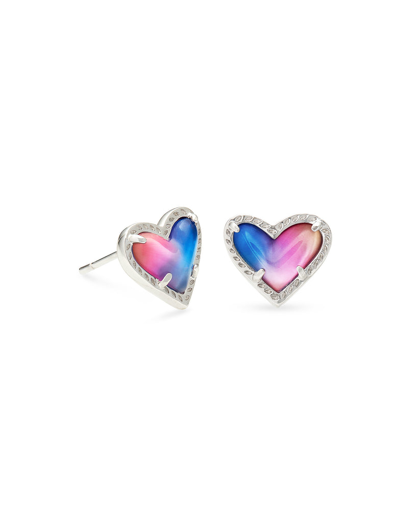 ARI HEART SILVER STUD EARRING IN WATERCOLOR ILLUSION