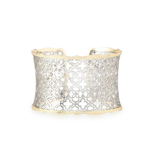 Candice Gold Cuff Bracelet In Silver Filigree