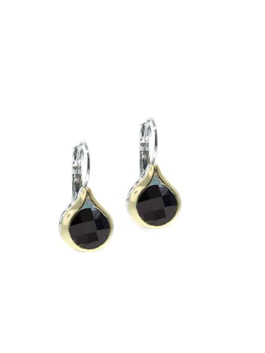 BLACK OVAL LINK COLLECTION FRENCH WIRE EARRINGS