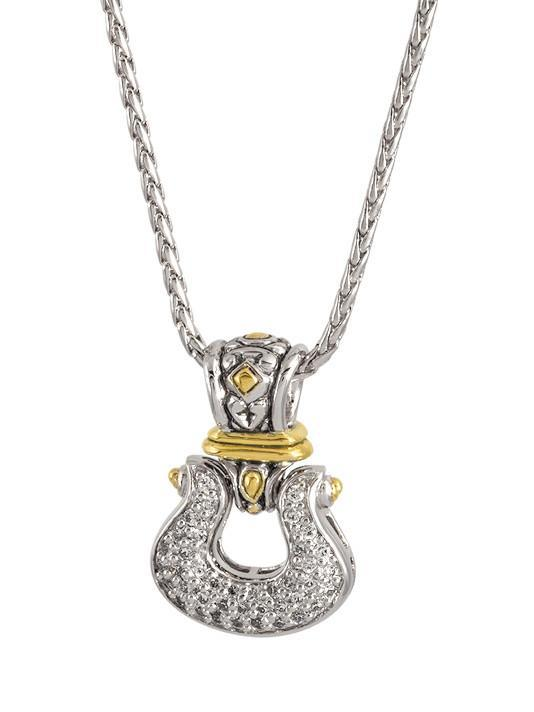 ANVIL PAVÉ HORSESHOE PENDANT WITH CHAIN