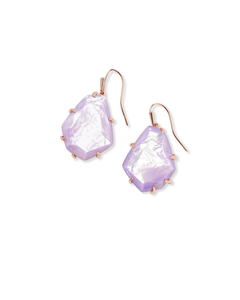 Kendra Scott Rosenell Rose Gold Drop Earrings In Lilac Mother Of Pearl