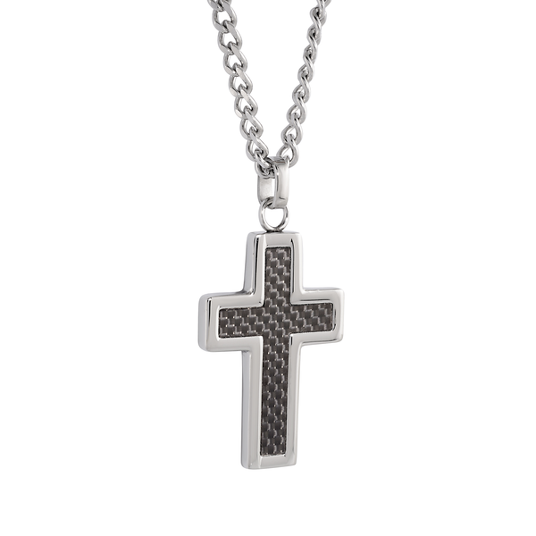 BLACK CARBON FIBER CROSS NECKLACE