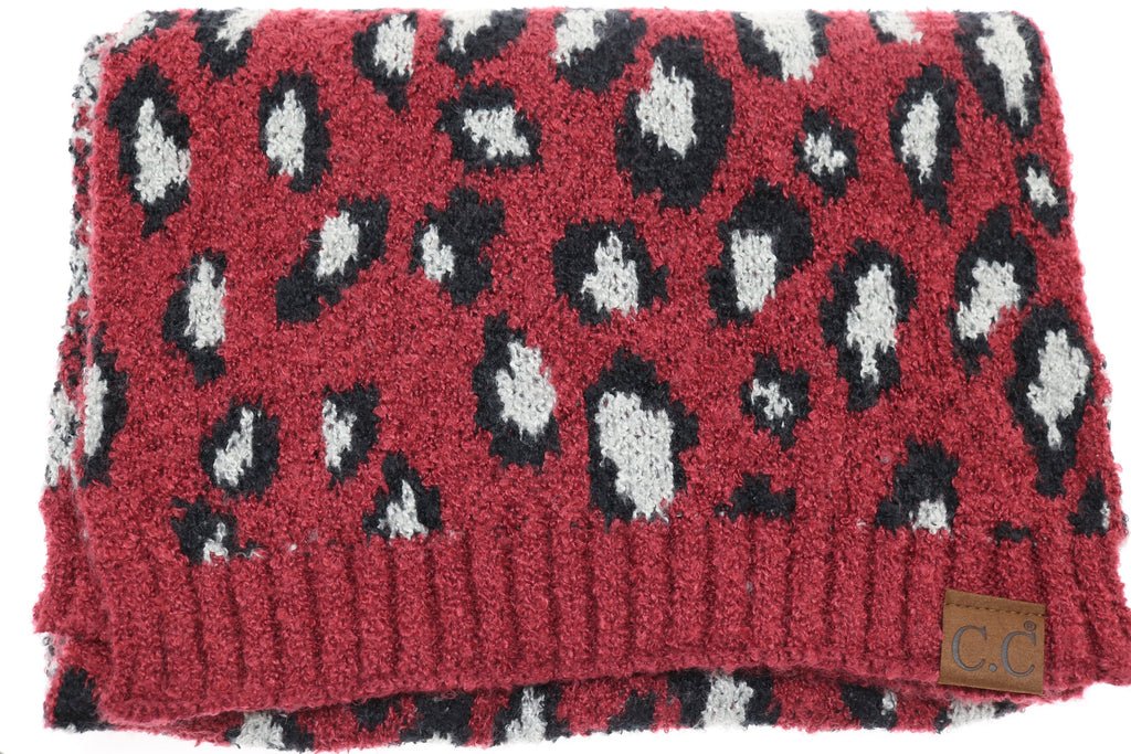Leopard Boucle Knit Scarf