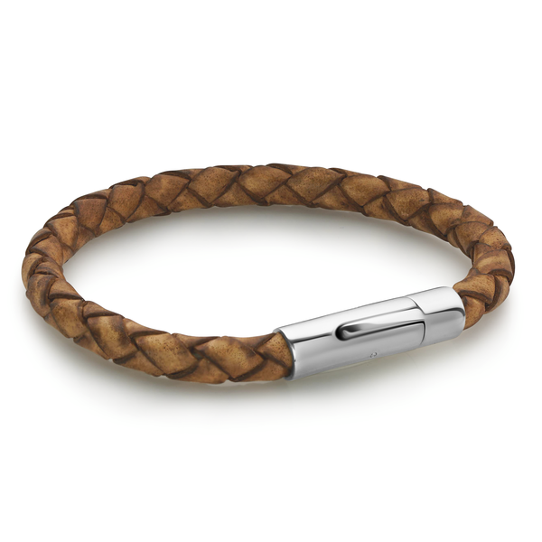 RED BROWN LEATHER BRACELET