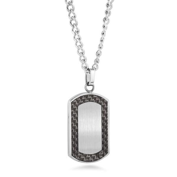 BLACK CARBON FIBER DOGTAG NECKLACE
