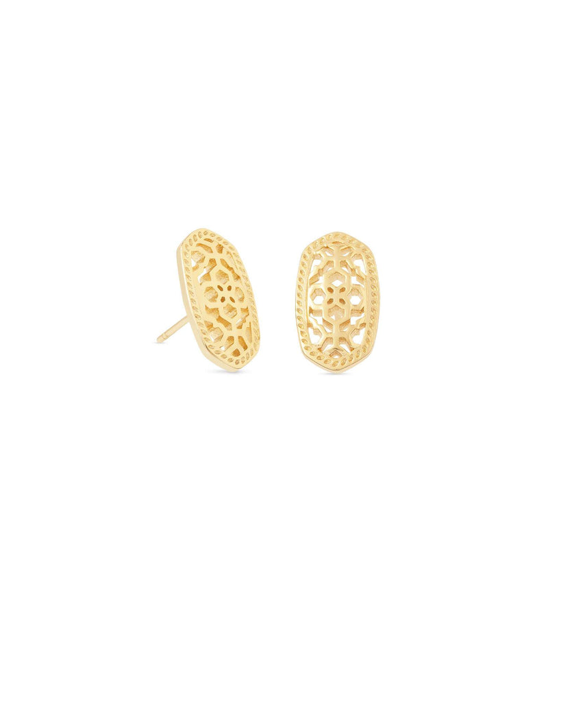 Kendra Scott Ellie Silver or Gold Stud Earrings In Filigree Mix