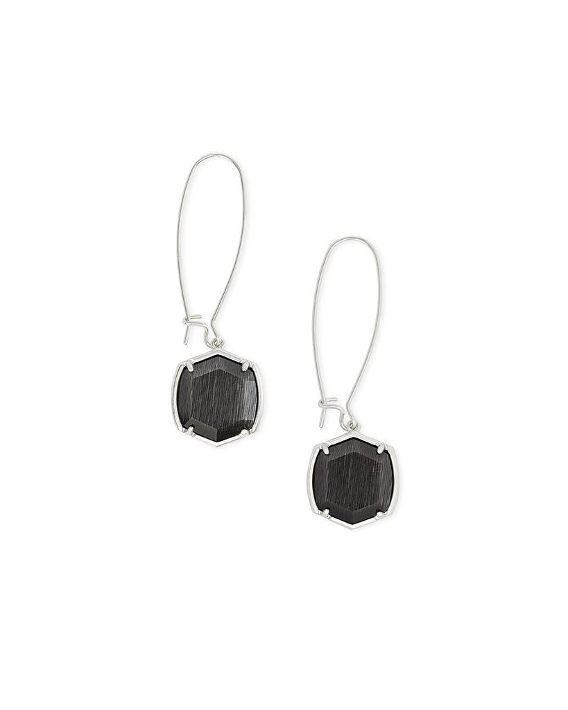 Davis Silver Drop Earrings In Black Cat's Eye