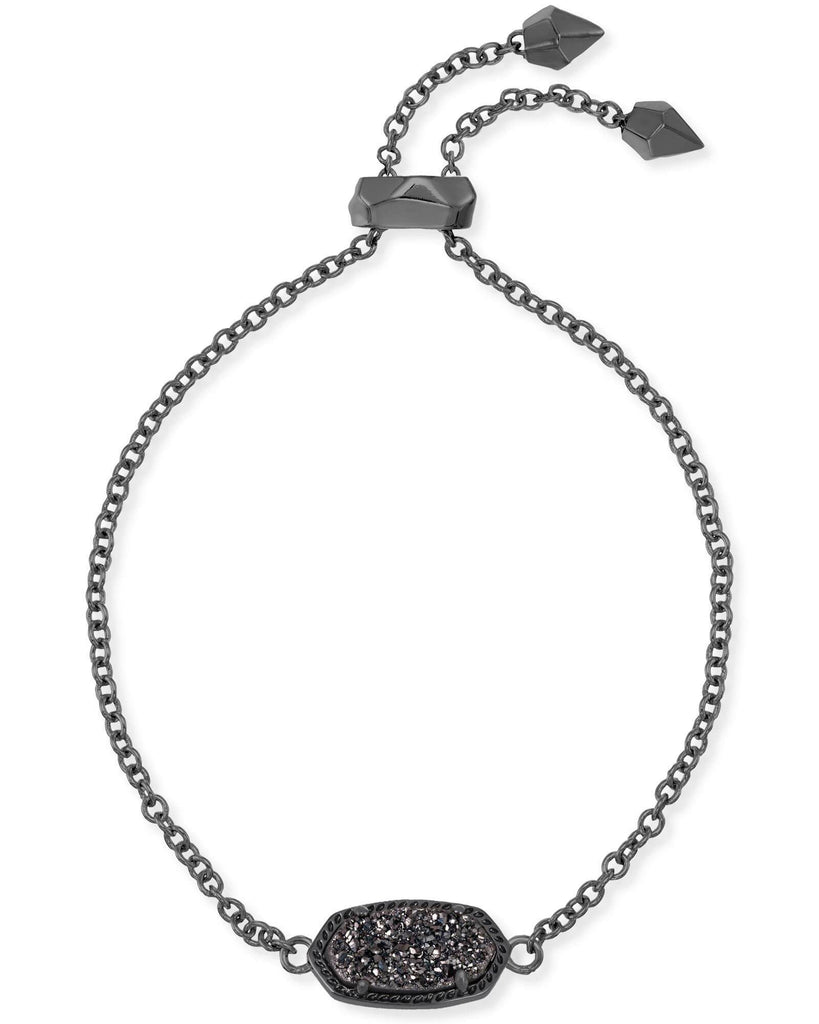 Kendra Scott Elaina Gunmetal Adjustable Chain Bracelet In Black Drusy