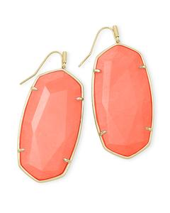 Faceted Danielle Gold Statement Earrings In Bright Coral