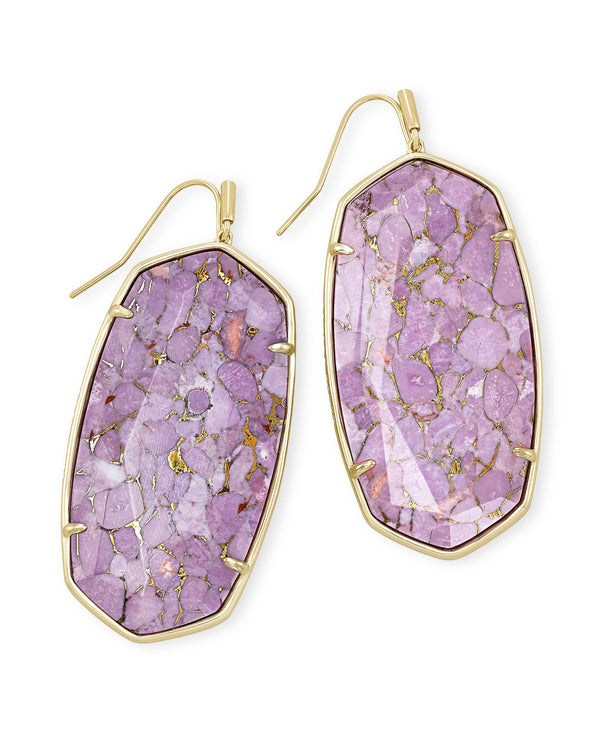 Faceted Danielle Gold Statement Earrings In Bronze Veined Lilac Magnesite