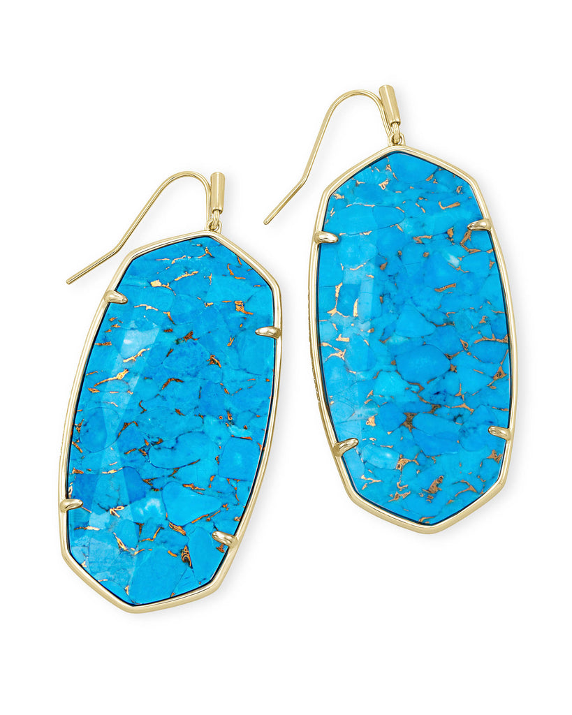 Faceted Danielle Gold Statement Earrings In Bronze Veined Turquoise Magnesite