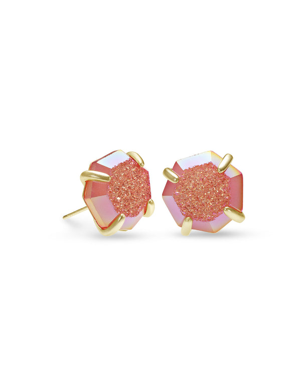 Ryan Gold Stud Earrings In Coral Drusy