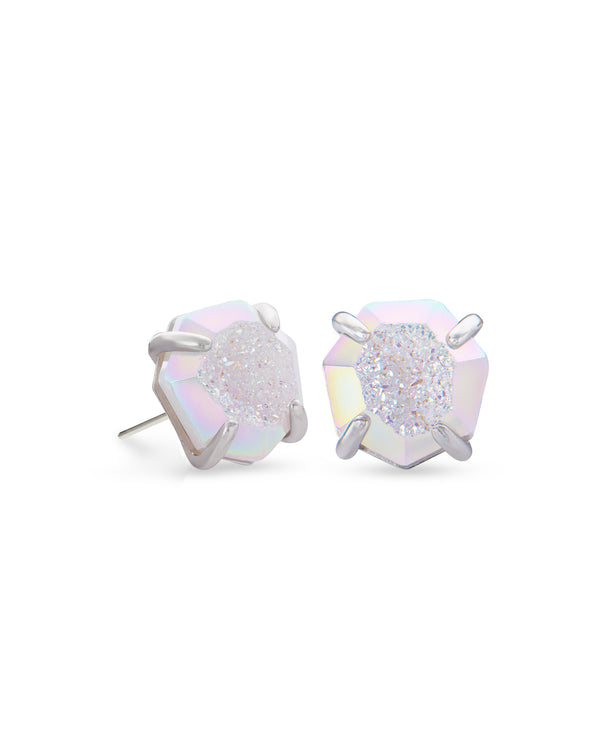 Ryan Silver Stud Earrings In Iridescent Drusy