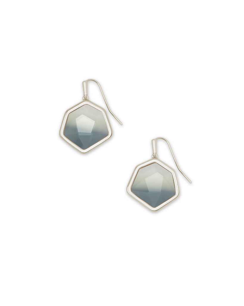 Vanessa Silver Small Drop Earrings In Charcoal Gray Ombre