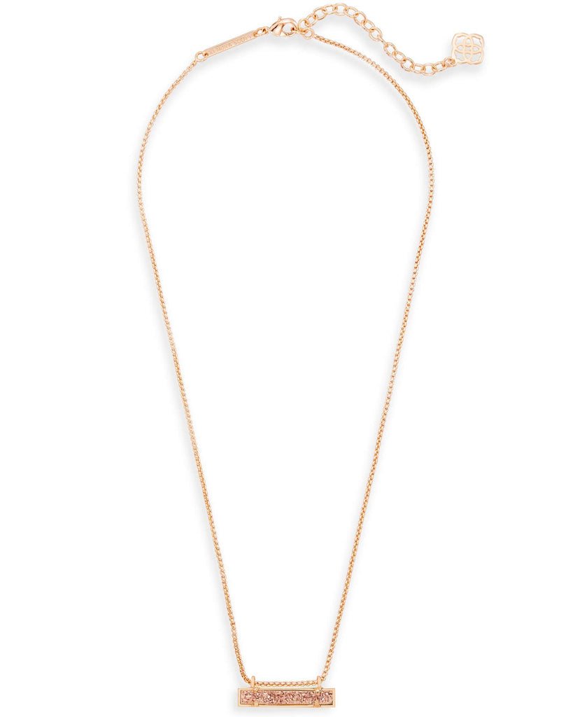 Kendra Scott Leanor Rose Gold Pendant Necklace In Rose Gold Drusy