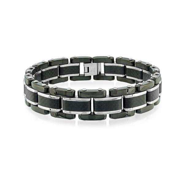 BLACK-IP POLISHED-BRUSHED CARBON-FIBRE BRACELET